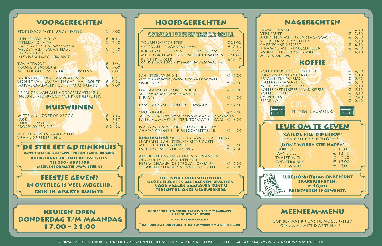Heerlijk uit eten in IJsselstein doe je in De Stee, bekijk onzemenukaart